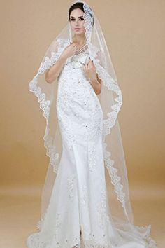 Nero 1 Layer Chapel Length Bridal Wedding Veils with Lace for Bride White ** Check out this great product.(This is an Amazon affiliate link and I receive a commission for the sales)