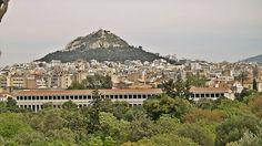 Lycabettus Hill seen from inside the Ancient Agora site. (Walking Athens, Route 03 - Psiri / Monastiraki)