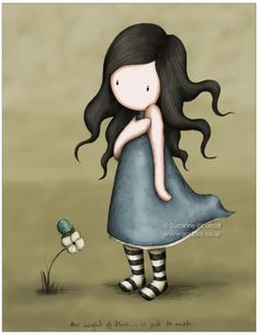 Items similar to The Weight Of This - 8 x 8 Giclee Fine Art Print - Gorjuss Art on Etsy Art Fantaisiste, Art Mignon, Cute Images, Illustration Girl, Copics, Whimsical Art, Cute Dolls, Oeuvre D'art, Clipart