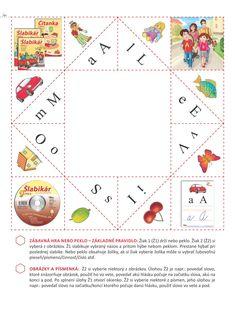 Zábavná hra Nebo peklo – základné pravidlo: Žiak 1 (Ž1) drží nebo peklo. Žiak 2 (Ž2) si vyberá z obrázkov. Ž1 slabikuje vybraný názov a pritom hýbe nebom peklom. Prestane hýbať pri poslednej slabike. Nebo peklo obsahuje žolíky, ak si žiak vyberie žolíka môže si vybrať ľubovoľnú pieseň/písmeno/číslo...(celý postup sa nachádza pod hrou). Playing Cards, Map, Games, Playing Card Games, Gaming, Maps, Toys, Cards, Game Cards