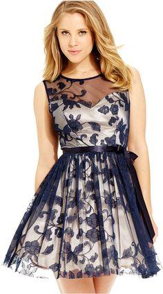 B Darlin Juniors' Embroidered Illusion Dress
