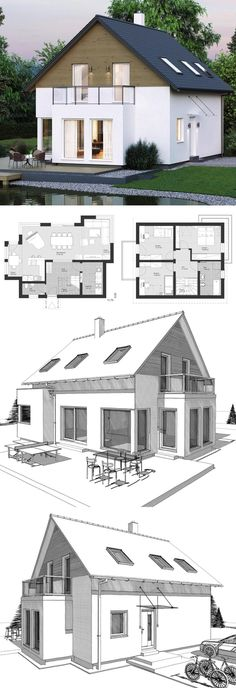 Modern Country Style Architecture Design House Plan ELK Haus 123 – Dream Home Ideas with Open Floor Layout by ELK Fertighaus – Arquitecture Contemporary European Styles House Plans and Interior with Kitchen Living Room Bathrooms Bedrooms Nursery Kids Entr Bathroom Layout Plans, Bathroom Design Layout, Bathroom Floor Plans, Bathroom Kids, Modern Bathroom, Layout Design, Modern Country Style, Country Style Homes, European Style