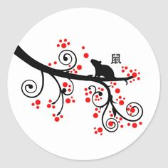 2020 Chinese New Year Rat and Red Blossom Tree Classic Round Sticker 2020 is the year of the rat. Celebrate with this elegant silhouetted rat sitting on a stylized red blossoming tree. Chinese New Year Crafts For Kids, Chinese New Year Activities, Chinese New Year Party, Chinese Crafts, New Years Activities, Chinese Art, Literacy Activities, Chinese Food, Nouvel An Chinois Diy