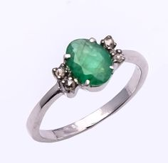 925 sterling silver Ring with Emerald & Diamond  www.etsy.com/...  www.ebay.com/...