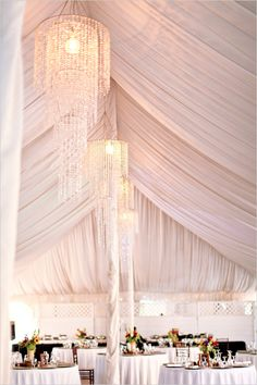 ball room wedding ideas :: ceiling drapery treatment with chandeliers