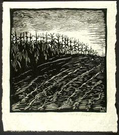 """""""September Corn"""" by Wharton Esherick (Woodcut, 1922) #art #woodcut"""