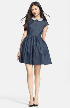 Free shipping and returns on kate spade new york 'kimberly' embellished denim fit & flare dress at Nordstrom.com. This fun, shapely dress juxtaposes a bedazzled Peter Pan collar with easygoing denim. An allover sheen—enhanced by plenty of gathers—ties the chic look together.