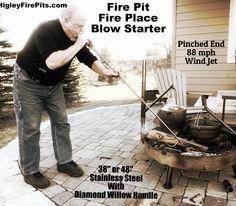 Blow Jet-Mouth Bellows Fire Starter. 88mph jet blast. Who needs lighter fluid. www.HigleyFirePits.com