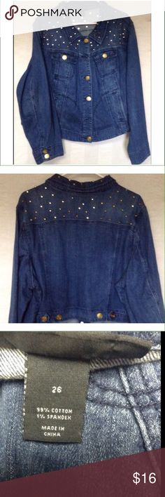 LANE BRYANT denim jacket So cute ! Denim jacket with gold studs, EUC Lane Bryant Jackets & Coats Jean Jackets