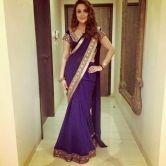 Nevy Blue Plain Chiffon Silk Actress Saree With Blouse