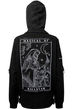Magical AF Jacket [B] | KILLSTAR  In Tarot; the Magician is the card that indicates your ultimate level of control over your life. Elevate the street game and get into it with the 'Magical AF' cotton-canvas biker jacket with large statement back-patch and embroidered detailing, ribbed cuffs+hems, D-ring accents, large oversized hood and fully lined. Matches ur soul perfectly!with KILLSTAR Branding, 97% Cotton 3% Elastane.