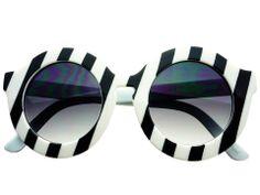 Designer Retro Oversized Black White Stripes Round Sunglasses R1615