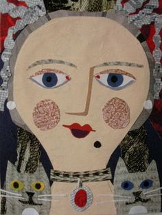 'Portrait of a Mad Cat Lady' (cut paper collage)   by Amanda White. www.amandawhite-contemporarynaiveart.com