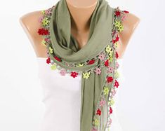 Turkish oya scarf , turkish yemeni , summer scarf with hand crocheted lace circles and tassel ,moss green