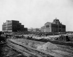 View of UCLA Westwood campus in 1927-1929. Physics Building (now Kinsey Hall) is on left, Moore Hall is in rear center, and Powell Library is on the right.