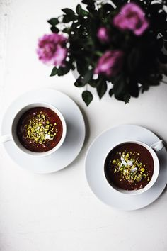 Valentine's breakfast: mousse au chocolat with pistachios and sea salt.