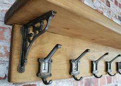 COAT RACK SHELF  Cast Iron Ornate Victorian School by WoodwormShop