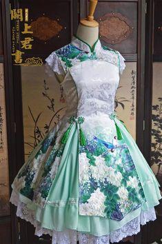 Beautiful blue-green wa-lolita dress with flowers and birds: asianfashion