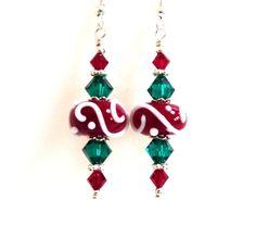 Christmas Earrings Red Green White Swirl Glass by Elegencebyelaine, $26.00