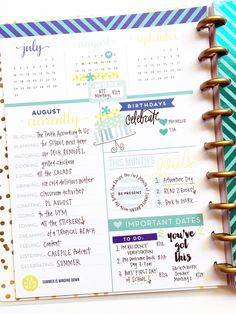 color-coded August FUN in the 'Be Bright' Happy Planner™ of mambi Design Team…