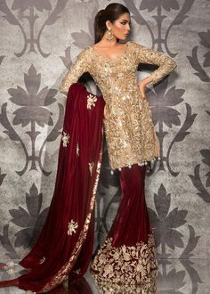 Color: Silver and Maroon Includes: Shirt, Trousers and Shawl Shirt: JAli with gold shimmer Trousers: Velvet with Jamawar Shawl: Velvet with Jamawar Pakistani Party Wear Dresses, Shadi Dresses, Pakistani Wedding Outfits, Designer Party Wear Dresses, Pakistani Bridal Dresses, Pakistani Wedding Dresses, Pakistani Dress Design, Bridal Outfits, Indian Dresses