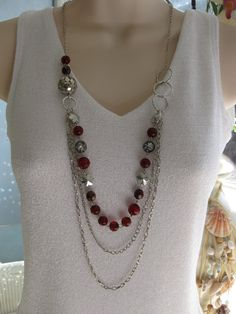 Long Red Necklace Multi Strand Silver Chain by RalstonOriginals, $18.00