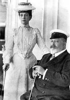 King Edward VII and Queen Alexandra (sister of the Russian Dowager Empress - both Danish princesses) at Cowes, Isle of Wight - UK - 1907