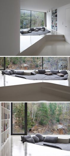 Tucked into a forest in the Czech Republic, and situated on a rock above the edge of a river, sits a family home designed by architectural studio A69. Minimalist Kitchen, Minimalist Interior, Minimalist Living, Minimalist Bedroom, Minimalist Decor, Modern Minimalist, Minimalist Furniture, Interior Simple, Interior Design Tips