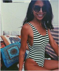 Stripe Print Backless Classic One Piece Swimwear