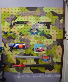 The weapon wall! For any moms of little boys with nerf guns and swords etc