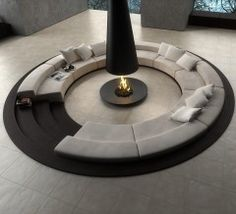 A fireplace in the middle of the room.. oh yes