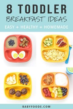 You'll love these 8 Healthy Toddler Breakfasts ideas! They're fast easy and healthy filled with protein fiber and other essential vitamins and minerals for growing toddlers! These healthy breakfast ideas will keep your toddler happy and full all morning! Healthy Toddler Breakfast, Detox Breakfast, Breakfast Waffles, Healthy Toddler Meals, Toddler Lunches, Healthy Breakfast Recipes, Healthy Kids, Kids Meals, Healthy Recipes