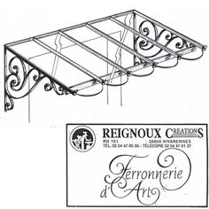 Marquise fer forgé classique, simple pan MA35 | Reignoux créations Iron Steel, Steel Metal, Pergola Garden, Window Grill, Steel Furniture, Metal Awning, Iron Pergola, Wrought Iron Decor, Iron Art