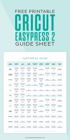 this FREE Printable Cricut EasyPress 2 Guide Sheet so you can make the perfect iron-on project every time! Cricut Air 2, Cricut Help, Cricut Iron On Vinyl, Cricut Explore Projects, Cricut Project Ideas, Cricut Vinyl Projects, Cricut Craft Room, Cricut Fonts, Circuit Projects