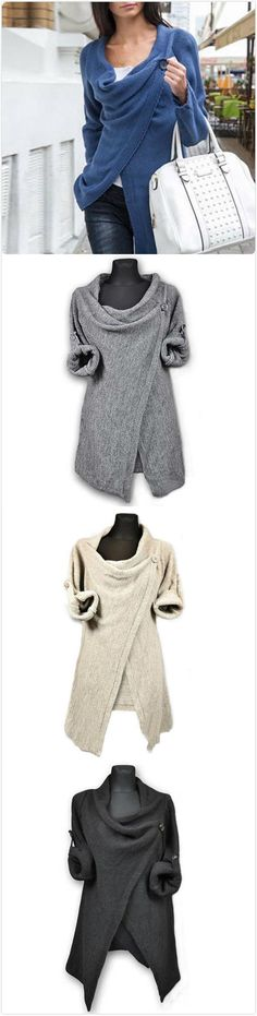 Only $26.99! Gray Single Button Tassel Sweater Asymmetrical Cardigan Hem Coat. Search more at chicnico.com.