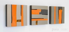 2166 Bloc 182 [triptych] - by Pascal - mixed media - 16 x 16 x 3 inches each panel - year 2012 - at Paia Contemporary Gallery