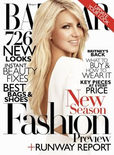 The black and white color scheme with the sudden pop of red gives the cover a sense of elegance and class. I think the color scheme works best because she has blonde hair. In the coverlines, the most important words are the biggest like BEST, NEW, and PRICE. Britney isn't facing forwards and her face isn't centered on the nose. Bazaar used a big number, 726, to grab the reader's attention.