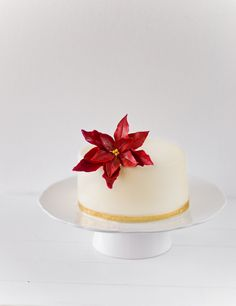 Almond Cake with Date Mascarpone Filling and a Gum Paste Poinsettia