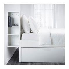 BRIMNES Bed frame with storage & headboard, white, Lönset Queen Lönset