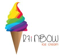 This fictitious company has a very colourful ice cream logo and very interesting typography.