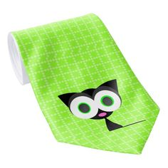 My Lucky Black Cat Green Patterned Tie
