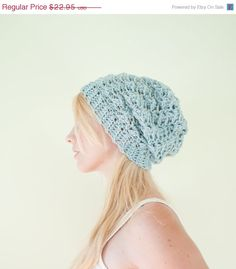 USALE Slouchy hat beanie crocheted  winter blue  wool by CThandmade, $20.66
