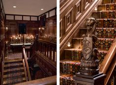 Hand carved stair railings in this Gothic, Jacobean and Tudor inspired manor by Cravotta Interiors