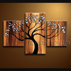 Enchant Contemporary Wall Art Hand-Painted Art Paintings For Living Room Tree. This 3 panels canvas wall art is hand painted by Bo Yi Art Studio, instock - $128. To see more, visit OilPaintingShops.com