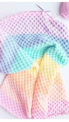 I have finally finished my Honeycomb blanket. Pattern for Honeycomb Blanket Slip Stitches = Purlwise A = Light Green B= Pur. Free Baby Blanket Patterns, Easy Baby Blanket, Crochet Blanket Patterns, Baby Knitting Patterns, Baby Blanket Crochet, Baby Patterns, Crochet Baby, Crochet Stitches, Knitting Ideas