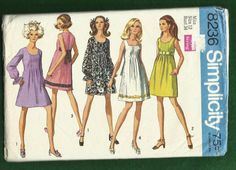 1969 Simplicity 8236 Empire Mini Dresses with by MrsWooster, $7.00