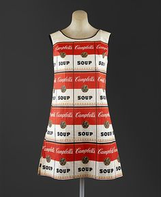 "Paper Pop Art ""The Souper Dress"", American, 1966-67. Pop Art was a sensibility emergent in the 1950s and rampant in the 1960s. Andy Warhol (who began his career as a fashion illustrator) had been painting Campbell's soup cans since 1962. Fashion quickly embraced the spirit of Pop, playing an important role in its dissemination. The paper dresses of 1966-67 were throwaways, open to advertising and the commercial."