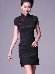 Black Short Cheongsam / Qipao / Chinese Party Dress by AnneF