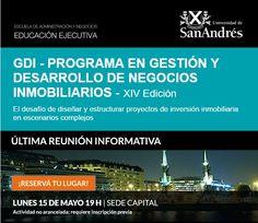 USA | GESTIÓN Y DESARROLLO DE NEGOCIOS INMOBILIARIOS  La Universidad de San Andrés convoca a la reunión informativa del programa en Gestión y Desarrollo de Negocios Inmobiliarios, que se realizará el lunes 15 de mayo a las 19 horas.  Actividad no arancelada. Requiere inscripción previa.  Más info: http://ly.cpau.org/2qWOo2J  #AgendaCPAU #RecomendadoARQ