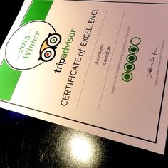 Finally @tripadvisorus Certificate of Excellence has arrived to @cocochanw1! ( ˘ ³˘)♥